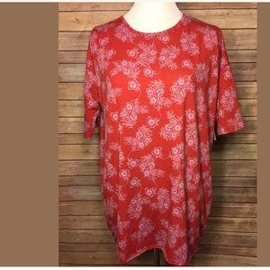 New Lularoe Irma Red Floral Print Tunic Top